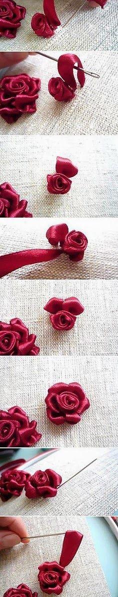 rosa de liston Tambour Embroidery, Silk Ribbon Embroidery, Hand Embroidery Patterns, Beaded Embroidery, Ribbon Art, Diy Ribbon, Ribbon Crafts, Ribbon Projects, Sewing Art
