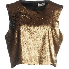 Nineminutes Top ($105) ❤ liked on Polyvore featuring tops, gold, brown top, zipper top, sequin tops, brown sleeveless top and sequined top