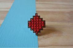 Square Aztec Ring by An Artist is Never Poor Aztec Rings, Hipster Chic, Triangle, Stud Earrings, Artist, Red, Inspiration, Jewelry, Biblical Inspiration