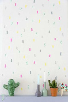 A beautiful colourful wall done with washi tape - 10 Fun Wall Decor Ideas | Tinyme Blog