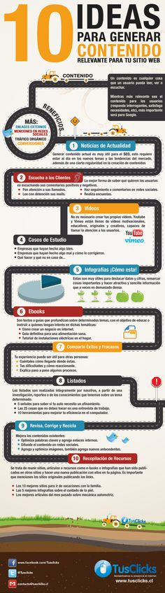 10 ideas para generar contenido relevante para tu web #infografia