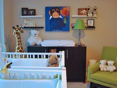 baby boy nursery - cute monkey picture and green chair!