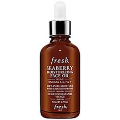 Fresh : Seaberry Moisturizing Face Oil  I AM OBSESSED WITH THIS STUFF. Three drops twice a day and my skin is perfectly moisturized and never gets greasy anymore. I'm never going back to lotion, oil is where it's at. Love it, love it, LOVE it.