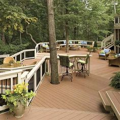 multi-level deck that winds in and around trees, deck design inspirational ideas