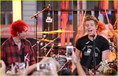 5 Seconds of Summer make silly faces before hitting the stage at Good Morning America on Tuesday (September 30) in New York City.