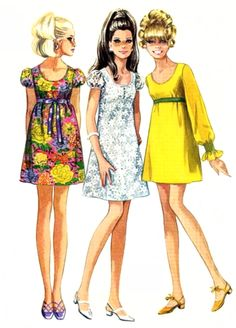1960s fashion Empire Line Baby Doll Dresses '60's fashion was as much about the hair as the clothes!