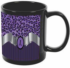 "Rikki Knight Letter ""L"" Purple Leopard Print Stripes Monogram Design 11 oz Photo Quality BLACK Ceramic Coffee Mugs Cups - Dishwasher and Microwave Safe"