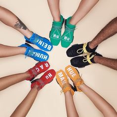 Many Colors two genius partners and one strong message: Human Race. We all belong to the same race. We are all human. After the stunning collaborations on the Superstar and the Stan Smith Pharell Williams and adidas teamed up again and present the new NMD Human Race Collection. The hotly desired NDMs are coming in five different colorways: red blue green black and orange. The sneaker features the new black supportive cage a white BOOST midsole and a mesh upper alongside varying insignias…