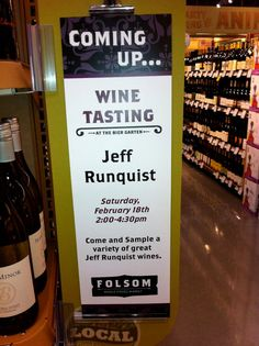 #Wine Tasting ~ Folsom is very close, come out and try Jeff Runquist Wines! Today 2:00-4:30  http://www.california-uncorked.com/winery%20events.html#runquist2.18.12
