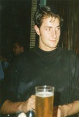 "Young Richard Armitage drinking beer. ""i also worked front of house at the theatre, which was like some kind of torture – watching other actors, sometimes not very good actors, doing it. i used to sit there with my stanislavski 'How to Act' books, ripping tickets."""