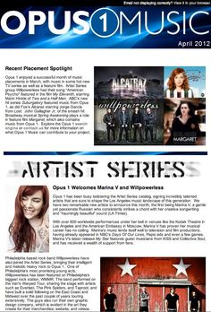 Check out the latest newsletter from Opus 1 Music. They're our publishing company out of Los Angeles, CA! What a sweet mention! We <3 you Opus!!