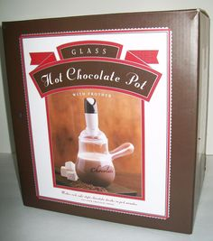 MIB Glass Hot Chocolate Pot with Frother Williams Sonoma Bon Jour NEW #williamssonomabonjour