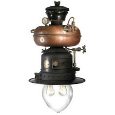 German, 1910-1930 ~ Rare Petromax With Copper Donut Tank - Electrified, very Captain Nemo | From a unique collection of antique and modern chandeliers and pendants  at http://www.1stdibs.com/furniture/lighting/chandeliers-pendant-lights/