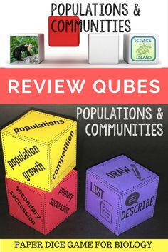 Engaging paper dice game for Biology covers population growth, symbiosis, succession and more!