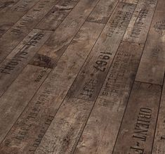 Flooring made of reclaimed wine crates.
