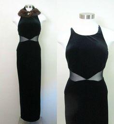 Black Velvet Cut Out Maxi Dress Vintage 1980s by rileybellavintage, $44.00