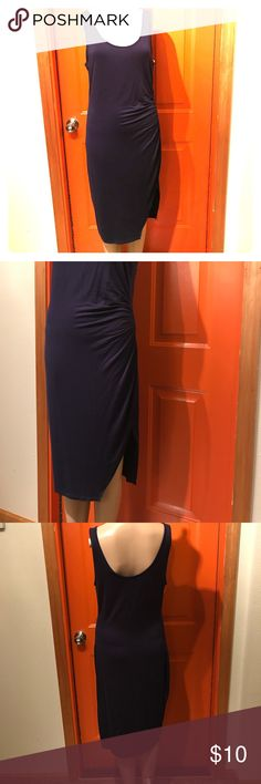 NWT! Dark blue rayon midi dress I always say you can't have too many solid color pieces in your closet! This dress can go with any shoe color! Sexy dark blue size medium tank dress. Soft stretch material. Goes just around the knee area with a ruffled side. Retails for $20! Save money buying it with me! ❤️❤️ Dresses Midi