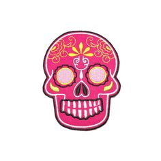 Iron on Patch - Pink Sugar Skull Iron on Patch / Iron on Applique by craftsisterday on Etsy https://www.etsy.com/listing/175117215/iron-on-patch-pink-sugar-skull-iron-on