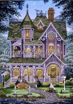 Mini Village Book Store cross stitch: a purple Victorian house! Two of my favourite things rolled into one!