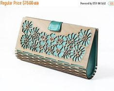 Silk & timber laser cut clutch bag