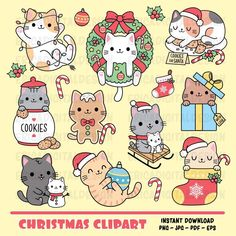 Christmas Clipart, Christmas Cats, Christmas Printables, How To Make Planner, Cat Clipart, Homemade Stickers, Christmas Drawing, Kawaii Cat, Cute Illustration