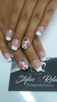 French Nail Art, Pretty Nail Art, Flower Nails, Manicure And Pedicure, Spring Nails, Nail Art Designs, Acrylic Nails, Beauty Hacks, Finger