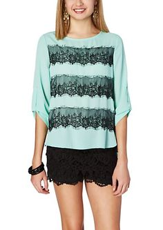 image of Scalloped Lace High Low Blouse