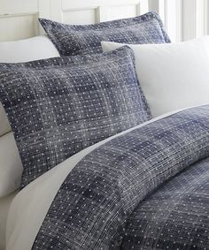 iEnjoy Bedding Navy Plaid Home Collection™ Ultra Soft Duvet Cover Set | zulily