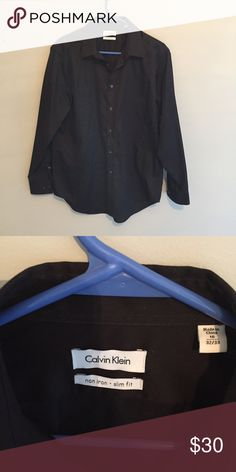Calvin Klein dress shirt Black button down dress shirt in perfect condition Calvin Klein Shirts Dress Shirts