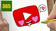 COMMENT DESSINER YOUTUBE LOGO AMOUR KAWAII ÉTAPE PAR ÉTAPE ...