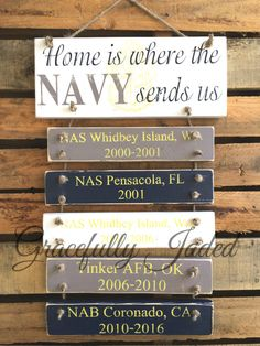 Home Is Where The Navy Sends Us, Navy Duty Stations, Navy Family Sign, Custom… Military Crafts, Military Signs, Navy Military, Military Spouse, Navy Life, Navy Mom, Us Navy, Navy Boyfriend, Navy Girlfriend