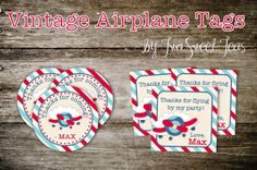 Airplane Invitation Plane vintage flying pilot birthday party favor thank you tags stickers cupcake topper