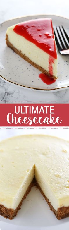 Stop right here! This is the ULTIMATE Cheesecake recipe! It took lots of testing to get a perfectly smooth and tangy cheesecake with NO CRACKS.