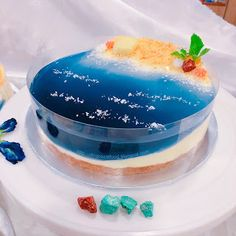 Creative Ocean Theme Mousse Cheesecake & Chocolate Mousse Mirror Glaze Cake - - Birthday Cupcake Ideen - Healt and fitness Ocean Cakes, Beach Cakes, Super Torte, Island Cake, Mirror Glaze Cake, Jelly Cake, Chocolate Cheesecake, Cheesecake Cookies, Mousse Cake