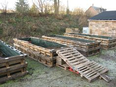 Old Pallets used to make a raised garden, cool now I don't have to take the pallets apart! AND u can plant shade loving plant on side. Old Pallets, Pallets Garden, Wooden Pallets, Garden Ideas Using Pallets, Pallet Ideas, Building A Raised Garden, Raised Garden Beds, Raised Beds, Palette Beet