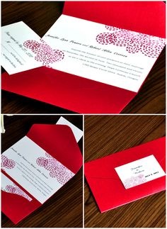 red and white pocket wedding invitations with free rsvp cards #elegantweddinginvites