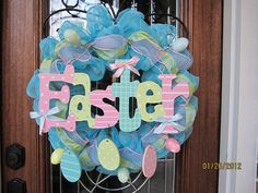 Easter Mesh Wreath by lesleepesak on Etsy, $70.00