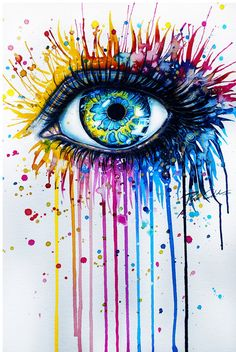 30 Expressive Drawings of Eyes Svenja Jödicke – Mind blowing eye art by the German artist with different mediums such as watercolor, acrylics, etc. Arte Pop, Painting & Drawing, Watercolor Paintings, Watercolor Eyes, Colorful Paintings, Easy Paintings, Creepy Paintings, Acrylic Paintings, Awesome Paintings