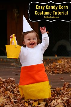 Easy Candy Corn Costume Tutorial #halloween #diy #sewing #babycostume #felt