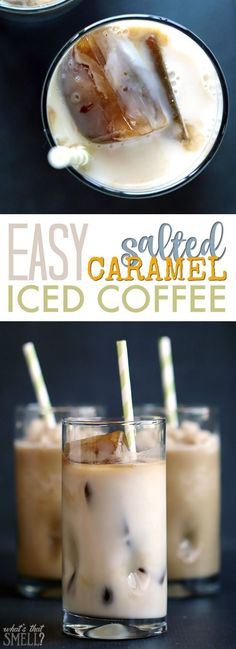 Iced Coffee - Easy Salted Caramel Iced or Frozen Coffee Recipe - Just 3 ingredients make a delicious, coffee-shop worthy iced or frozen salted caramel flavored coffee! It's dairy free too! #SilkCrown #LovemySilk #Nutchello AD