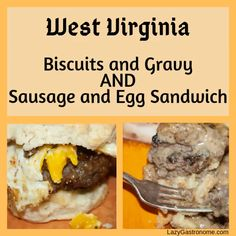 In West Virginia the miners work hard. When you work hard, a good, rib-stickin' breakfast is necessary. Biscuits and Gravy fit the bill. Egg Biscuits, Fluffy Biscuits, Biscuits And Gravy, Buttermilk Biscuits, Sausage Gravy, Sausage And Egg, Biscuit Sandwich, State Foods, Egg Sandwiches