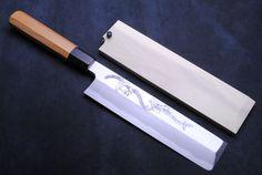 "Yoshihiro Artisan Hand Engraved ""Unagi Nobori"" Climbing Eel Aonamiuchi Usuba Japanese Vegetable Chef Knife <br>(Octagon Yew Handle)"