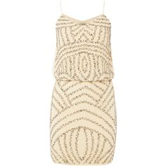 Lace and Beads Sleeveless Blouson Top Dress (5,825 INR) ❤ liked on Polyvore featuring dresses, cream, women, sleeveless dress, short lace dress, brown dresses, cream cocktail dress and short cocktail dresses