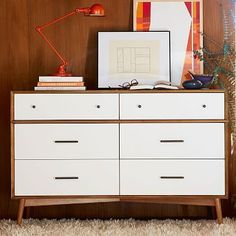 I want this but want to spend $50. K? Mid-Century 6-Drawer Dresser  - White + Acorn #westelm