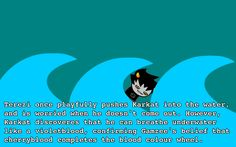 Nah. In physique, Karkat would be like a human. If anything I headcanon that GAMZEE can breathe underwater for short periods of time, due to his closeness to royalty