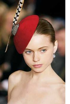 Red with feather hat