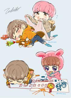 Image about kpop in BTS fanart❤ by Kim Taehyung Bts Chibi, Bts Fanart Chibi, Anime Chibi, Kawaii Anime, Vkook Fanart, Jungkook Fanart, Bts Memes, Bebe Anime, Fan Art Anime