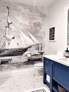 wall mural--Jillian Harris 5 Ways to Freshen Up Your Walls Vintage Wallpaper, Nautical Wallpaper, Wall Wallpaper, Jillian Harris, Nautique Vintage, Wallpaper Schwarz, Bathroom Mural, Basement Bathroom, Washroom