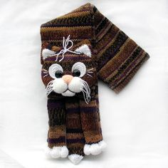 0f2d9140a63671 Knitted cat scarf,Knitted kids scarf,Animal scarf,Cat scarf,Knit scarf.  Bufanda Dos AgujasGanchillo BufandaTejer ...