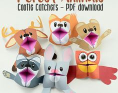 Forest Animals Cootie Catchers - Fortune Tellers - Printable